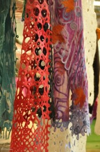 A selection of Scribble Lace scarves showcased what can be done with our 50/50 pencil roving.