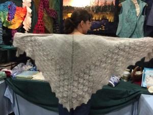 Carolyn showing off her gorgeous angora shawl!