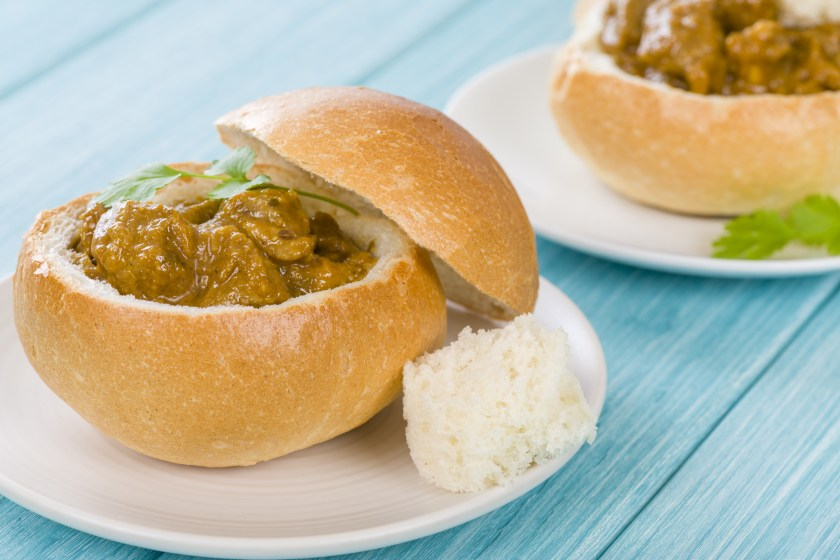 Bunny Chow - South African mutton curry inside a bread bun