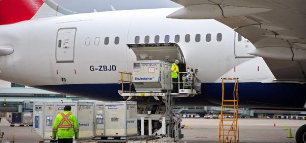Envirotainer being loaded into a British Airways aircraft