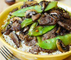 Asian Beef, Snow Peas, Mushrooms, over Rice