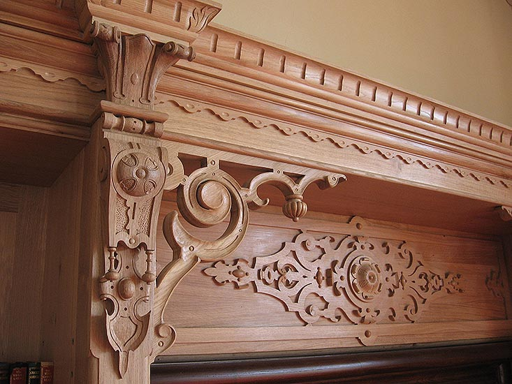 Detail of restoration work done to the library. Carved Oak. Stoke Rochford Hall, Lincolnshire.