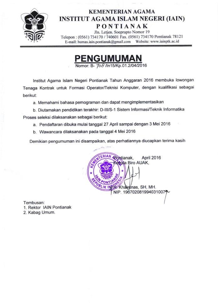 Rekrutmen Pegawai Kontrak