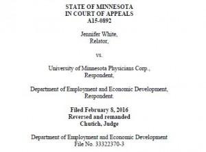 Unemployment Case White v. University of Minnesota