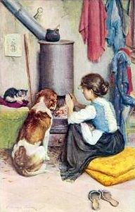 Girl With A Large Dog And A Small Cat Warming Themsellves At An Open Stove