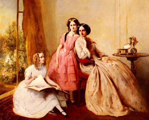 A Portrait With Two Girls And Their Governess
