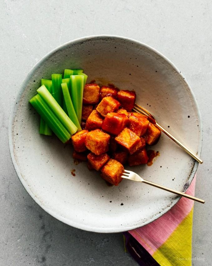 Crispy Oven Baked Buffalo Tofu Bites | www.iamafoodblog.com