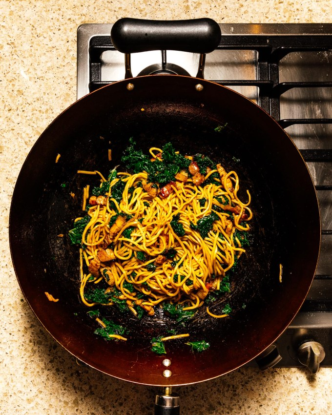Pork Belly and Kale Fried Noodles | www.iamafoodblog.com