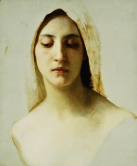w5 William-Adolphe Bouguereau (French Academic painter, 1825-1905) A Woman's Head