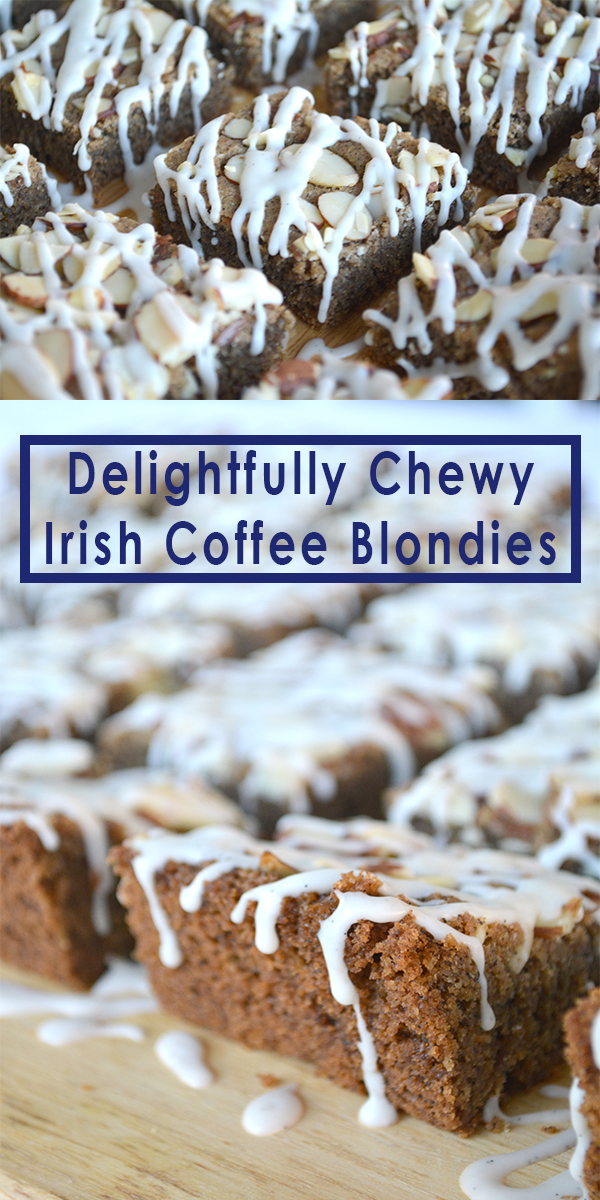 These chewy Irish Coffee Blondies are perfect for St. Patrick's Day. They have a great texture and are loaded up with coffee and whiskey. Enjoy!