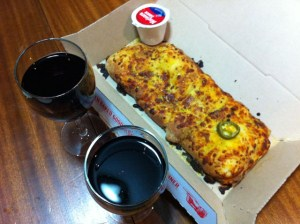wine and dominos dinner