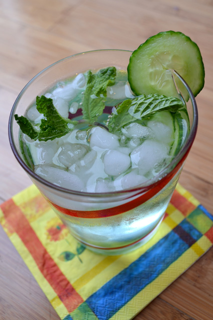 Cucumber Mint and Basil Soda