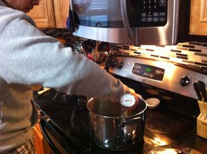 frying beignets