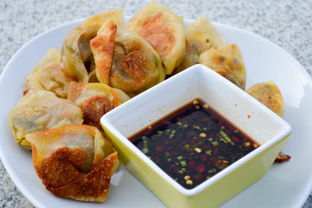Vegetarian Wontons Spicy Soy Dipping Sauce-2