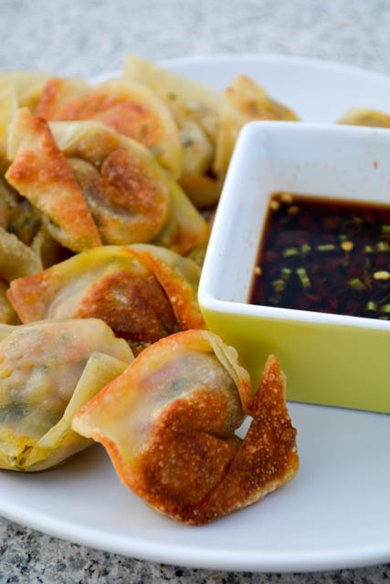 Vegetarian Wontons Spicy Soy Dipping Sauce-3