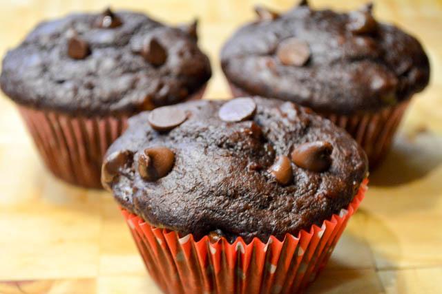 Double Chocolate Banana Muffins-3