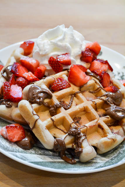 Strawberry Nutella Waffles