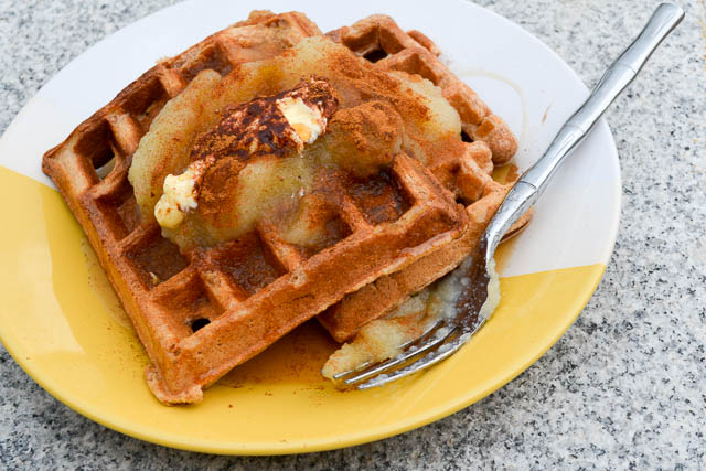 Whole Wheat Apple Sauce Waffles-3
