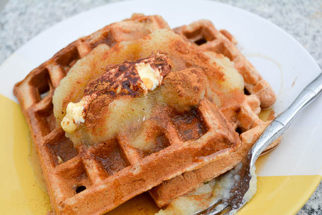 Whole Wheat Apple Sauce Waffles-4