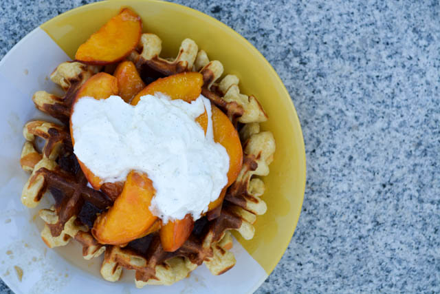 Sour Cream Waffles with Peach Compote-3