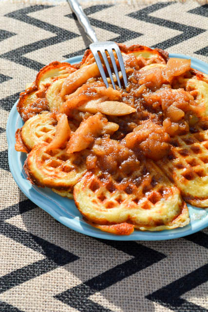 Bacon and Cheese Buttermilk Waffles with Apple Compote-2