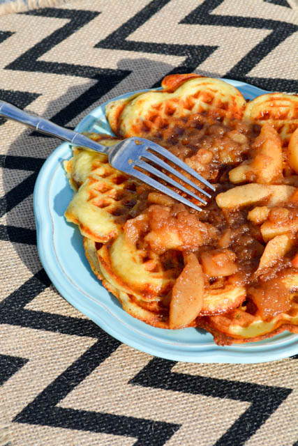 Bacon and Cheese Buttermilk Waffles with Apple Compote