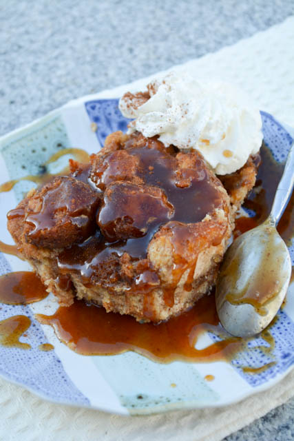 Apple Cider Donut Bread Pudding with Apple Cider Caramel
