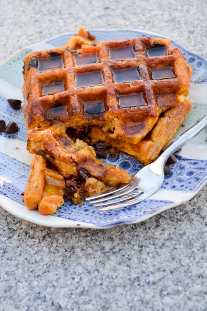 Chocolate Chip Pumpkin Waffles with a Apple Cider Maple Syrup