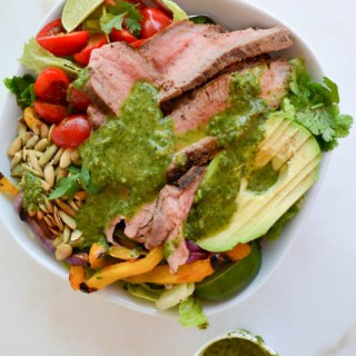 Grilled Steak Fajita Salad with Cilantro Vinaigrette