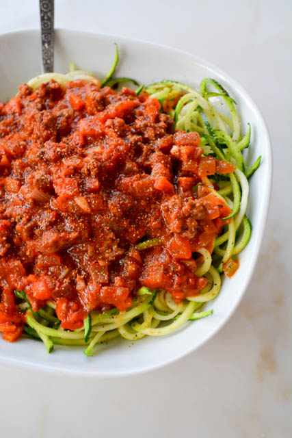 Quick Meat Sauce with Zucchini Noodles