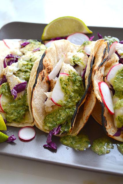 15 minute fish tacos w chimichurri sauce
