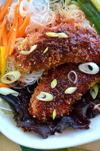 Crunchy Sweet and Spicy Chicken Tenders with Noodle Salad