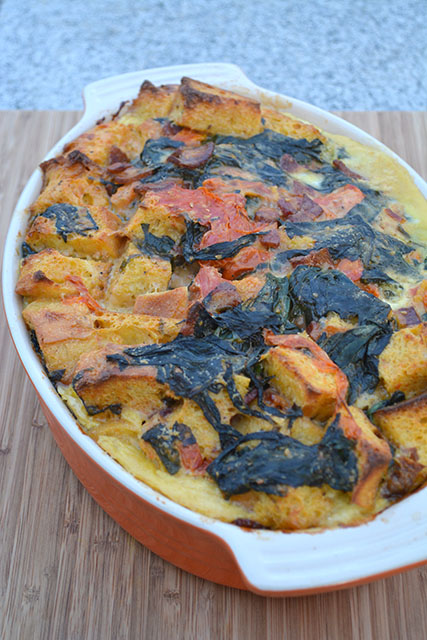 Cheesy, Bacon, Tomato, and Spinach Strata_02