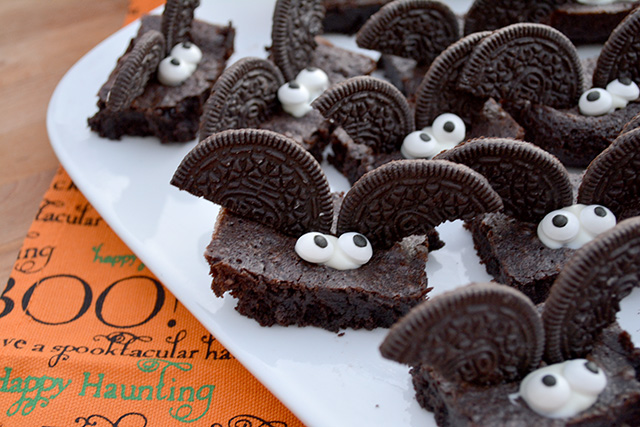 """""""I've Gone Batty"""" Halloween Brownies are chocolate brownies with a super easy bat decoration that anyone can make!"""