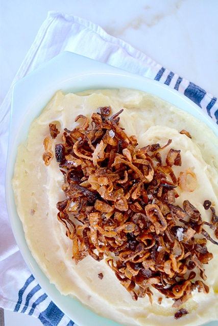 Mascarpone Mashed Potatoes with Crispy Shallots