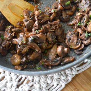 cooked mushrooms in skillet