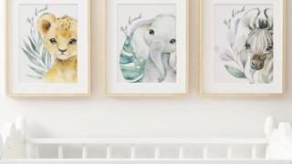 Nursery Wall Prints - Set of Lion, Elephant, Zebra