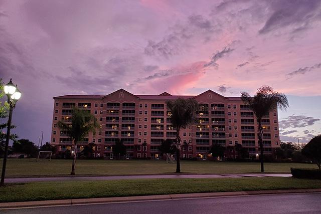 sun setting at Westgate Resort in Orlando FL