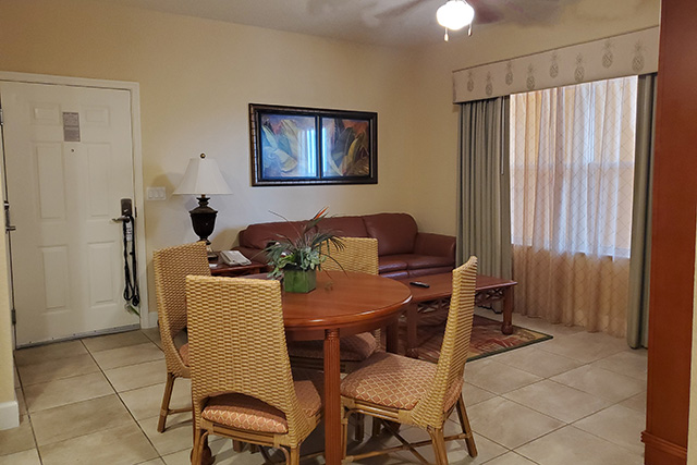 Living area in a One Bedroom Villa in Westgate Town Center Resort