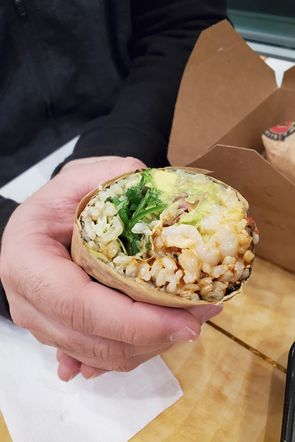 poke burrito with shrimp filling