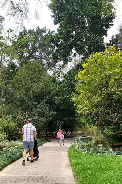 family walking on a path at Leu Gardens