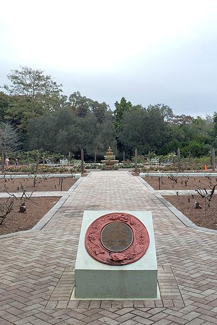 fountain in rose garden at Leu Gardens