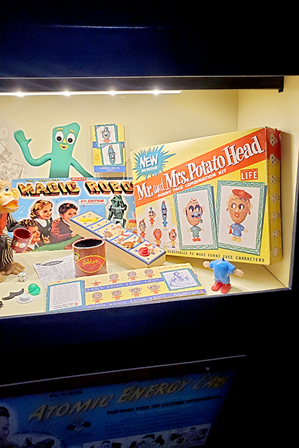 display of vintage games including magic robot and mr & mrs Potato Head
