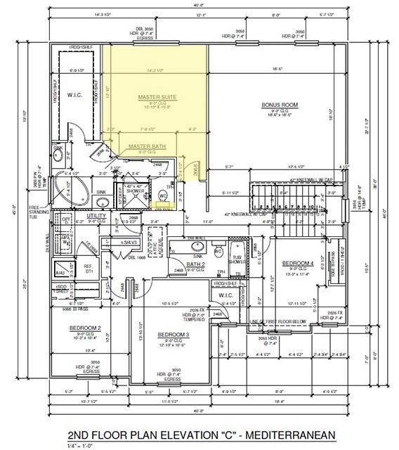 Ashton Woods Monroe House plan of 2nd floor highlighting master suite.