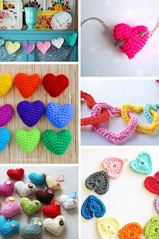 Inspiración corazones a ganchillo, visto en IamaMess