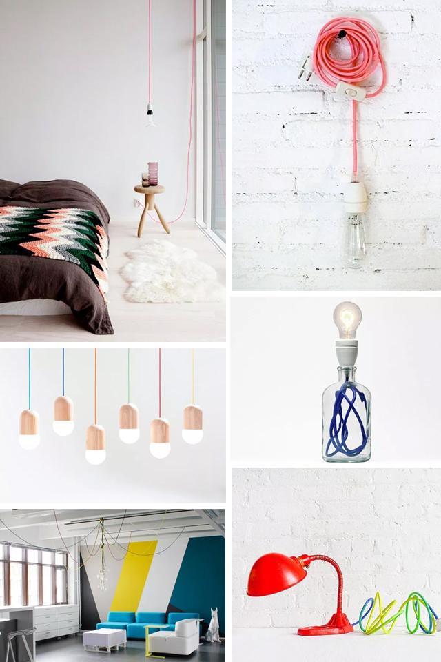 Inspiración deco con cables de colores, visto en IamaMess blog