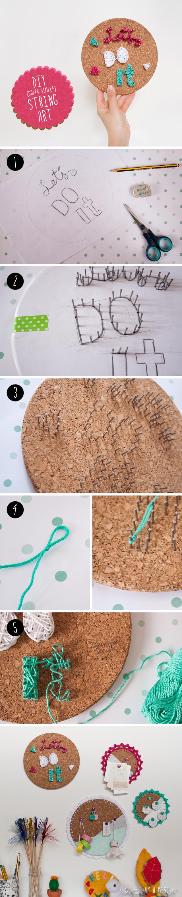 String Art con corcho, visto en IamaMess blog