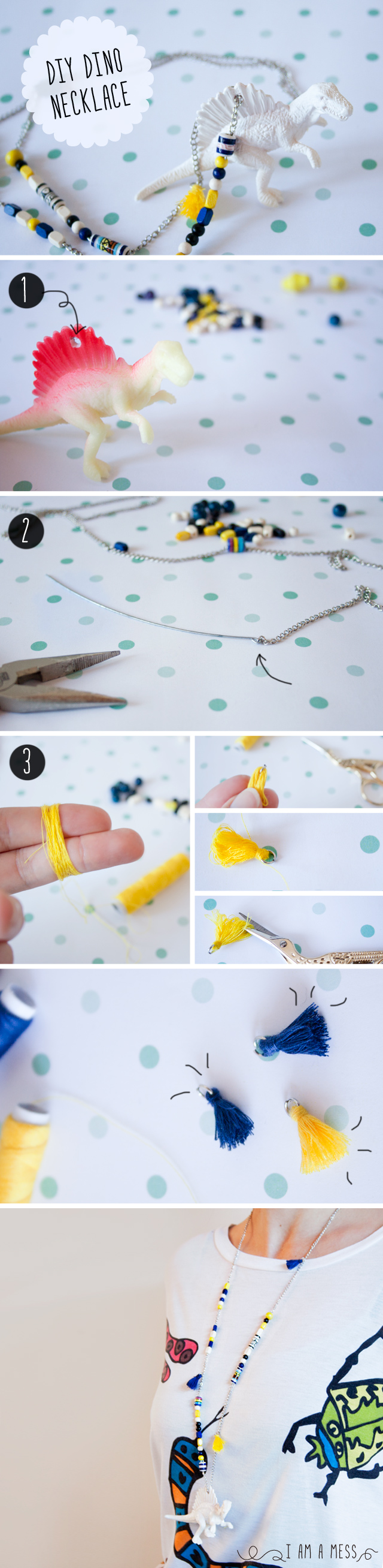 "DIY Dino Necklace by ""I am a Mess"""