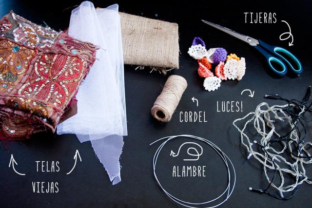 Lampra boho DIY con elementos reciclados, materiales