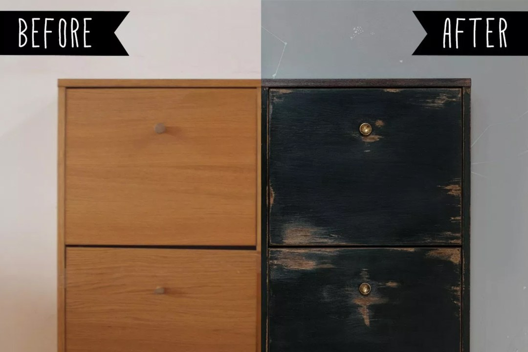 Antes y después de un mueble de chapa